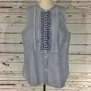 J. Crew Stripped Ruffle Blouse Top 14T